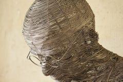 Gandhi-` s Gesicht gestaltet mit der Schnur gemacht vom Stahl Lizenzfreie Stockfotos