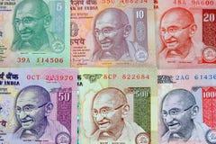 Gandhi sulle note della rupia Fotografia Stock Libera da Diritti