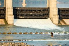 Gandhinagar rivierdam - India Royalty-vrije Stock Foto