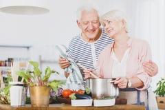 Gandma смешивает овощной суп Стоковая Фотография