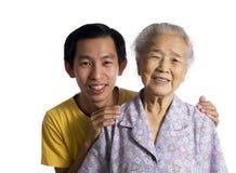 Gandmother avec le fils Photos libres de droits