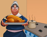 Gandmother with a turkey stock illustration