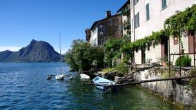 Gandria-Dorf auf See Lugano, die Schweiz stock footage