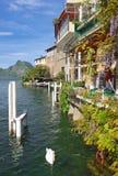 Gandria, Jeziornego Lugano, Ticino kanton, Szwajcaria zdjęcie stock