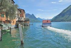 Gandria, Meer Lugano, Ticino-Kanton, Zwitserland Stock Afbeeldingen