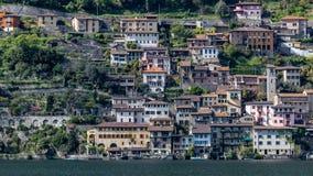 Gandria wioska na jeziorze obraz royalty free