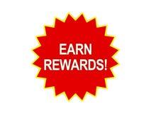 Gane el mensaje de las recompensas en la estrella roja Fotos de archivo