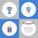 Gane el premio estupendo, el programa de la recompensa, la taza del ganador, el primer cuenco del lugar, el logro y el concepto d stock de ilustración