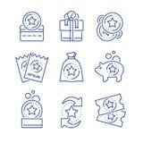 Gane la recompensa, incentivos de la lealtad, tarjeta de la prima, redima el regalo, vale del descuento, recoja las monedas, pres stock de ilustración