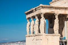 Ganeczek kariatydy w Erechtheion starożytny grek t zdjęcie royalty free