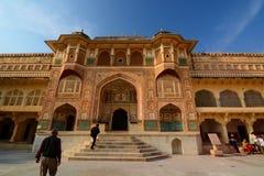 Ganesh波尔布特入口 阿梅尔宫殿(或阿梅尔堡垒) 斋浦尔 拉贾斯坦 印度 图库摄影