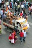 Ganesh浸没印度节日 免版税库存照片