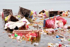 Ganesh浸没水污染 图库摄影