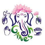 Ganesh и цветок лотоса hinduism иллюстрация вектора