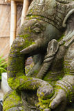 Ganesh. Stone Ganesh with moss growing on his face in Bali Royalty Free Stock Photos