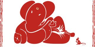 Ganesh. Indian god ganesh, ganapati mouse stock illustration