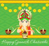 Ganesh Chaturthi Celebration Background With Flower. Vector illustration vector illustration