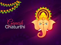 Ganesh Chaturthi festival template or flyer design with Lord Gan. Esha face on abstract purple background vector illustration
