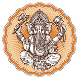 Ganesh Chaturthi. hand-drawn sketch religious symbol of hinduism. vector illustration Royalty Free Stock Photo