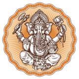 Ganesh Chaturthi. hand-drawn sketch religious symbol of hinduism. vector illustration Royalty Free Stock Photo