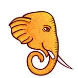 Ganesh Chaturthi, illustration. For Hindu festival. Elephant head with one tusk broken, symbol of Hindu God Ganesh. Isolated on white vector illustration