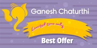 Ganesh chaturthi oferty najlepszy sztandar horyzontalny, mieszkanie styl royalty ilustracja