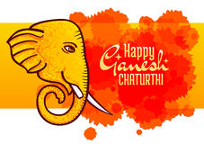 Ganesh Chaturthi  poster, elephant head. Happy Ganesh Chaturthi,  poster, Hindu festival design element. Horizontal banner, elephant head with one tusk broken Royalty Free Stock Photo