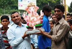 Ganesh chaturthifestival i hyderabad, Indien Royaltyfria Foton