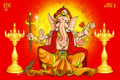 Ganesh and Deepawali. Vector illustration of Lord Ganesha for Deepawali stock illustration