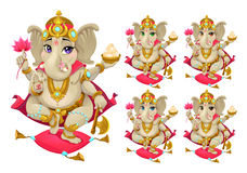 Ganesh in 5 different colors Royalty Free Stock Photography