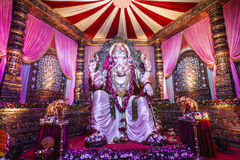 Ganesh Festival. A huge idol of Hindu god Ganesha is kept on display inside a well-decorated tent during Ganesh festival celebrations in India Stock Images