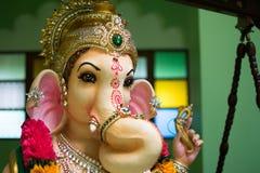 Ganesh Greeting que mostra a fotografia do ídolo do ganesha do senhor foto de stock