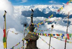 Ganesh Himal with stupa Stock Photography