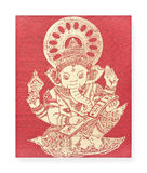 Ganesh, Hindu God on silk Royalty Free Stock Photos