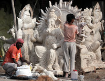 Ganesh idol makers Stock Photo