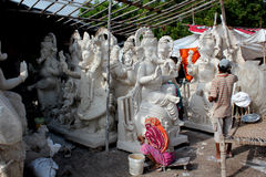 Ganesh idol makers Stock Images