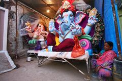 Ganesh idols are getting ready for sale Royalty Free Stock Images