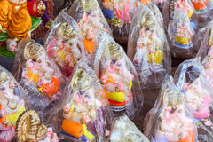 Ganesh Idols packaged and ready for sale. Colorful idols of Hindu god Ganesha is packaged and kept ready for Ganesh Chaturthi festival Stock Images