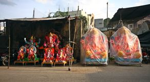 Ganesh idols ready for sale Stock Images