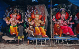 Ganesh idols ready for sale Royalty Free Stock Photography