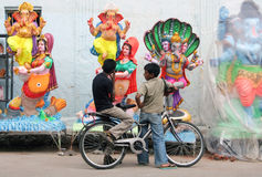 Ganesh idols for sale during Hindu festval Stock Photo