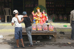 Ganesh idols for sale during Hindu festval Royalty Free Stock Image