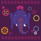 Ganesh with lotuses holiday print Stock Image