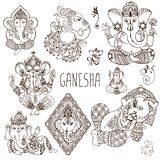 Ganesh in the mehendi style. A set of Ganesha symbols. Painted in the mehendi style Royalty Free Stock Images