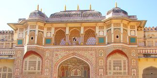 Ganesh Pol, Amer Fort, Jaipur, Ragiastan, India fotografie stock