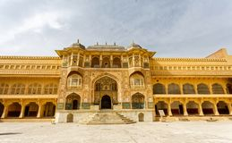 Ganesh Pol Entrance zu Amber Fort Palace Jaipur India lizenzfreies stockbild