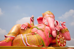 Ganesh. Ganesh Statue Ganesh on the big pink. In a manner that is lying Stock Image
