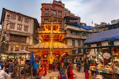 Ganesh Temple bij schemer, Katmandu stock afbeelding