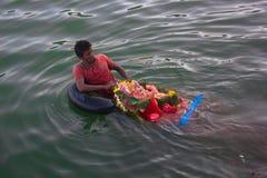 Ganesh Utsav/Festival: India. Ganpati utsav is one of the largest celebrated festival after Diwali. Idol Ganpati beloved to be God of prosperity is invited bring Royalty Free Stock Images