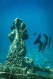 Ganesha印度水下的雕象, Amed,巴厘岛 库存图片